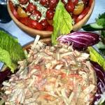 Homemade Coleslaw And Fresh Tomato Salad